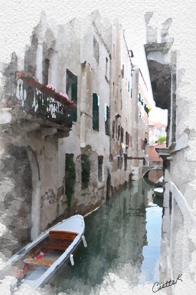 Watercolour image of Venice